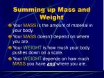 summing up mass and weight