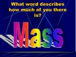what word describes how much of you there is