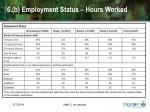 6 b employment status hours worked