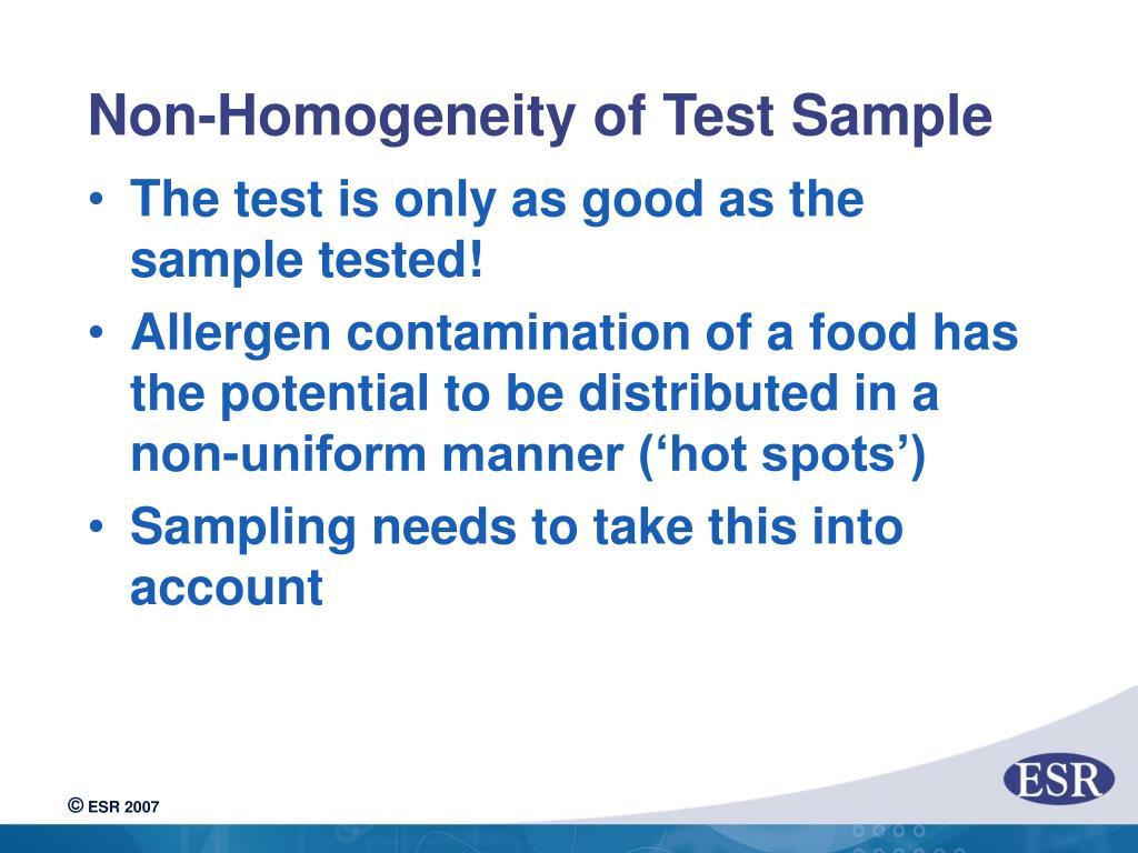Non-Homogeneity of Test Sample