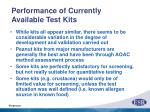 performance of currently available test kits