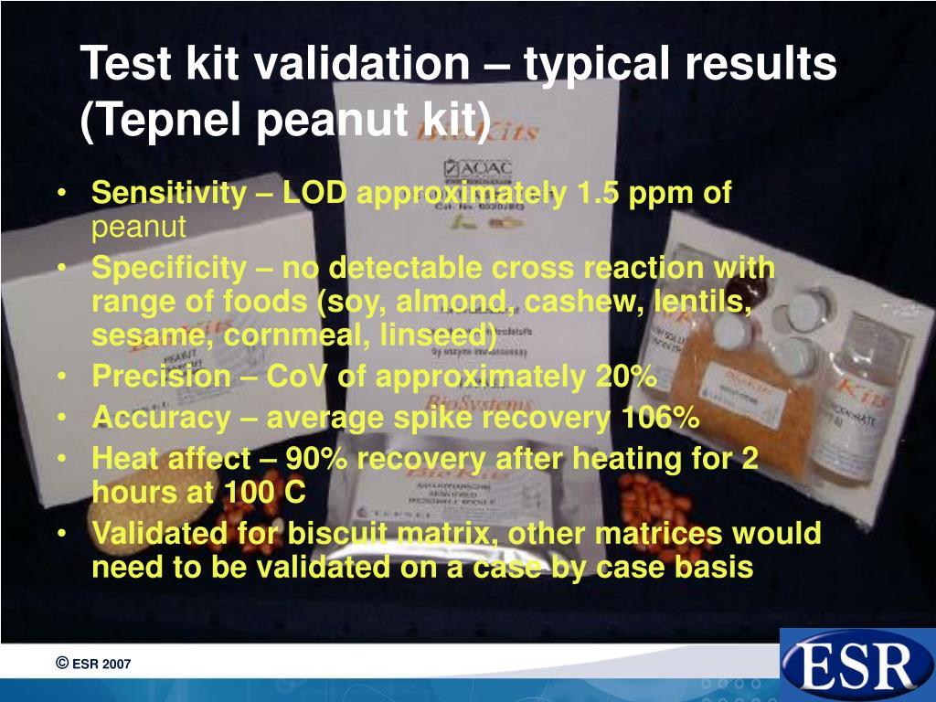 Test kit validation – typical results (Tepnel peanut kit)