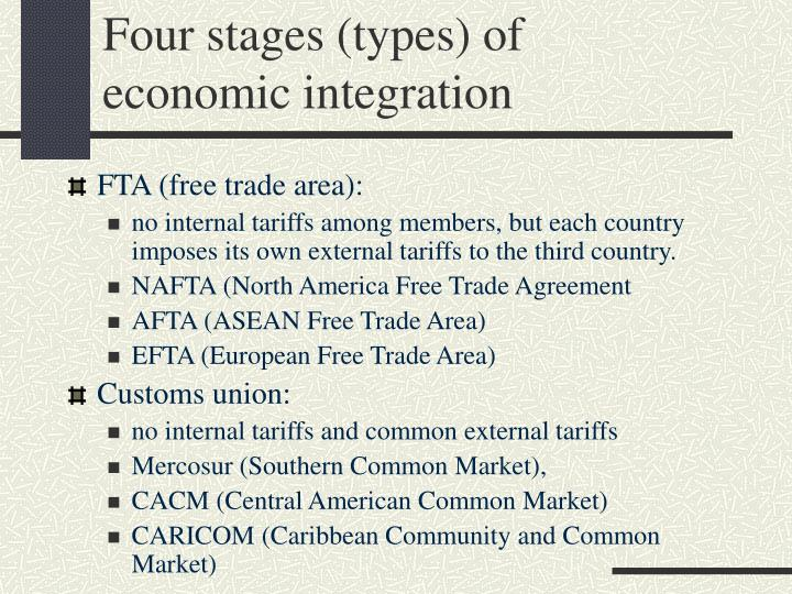 types of economic intergration Regional economic integration has enabled countries to focus on issues that are relevant to their stage of development as well as encourage trade between neighbors there are four main types of regional economic integration free trade area.