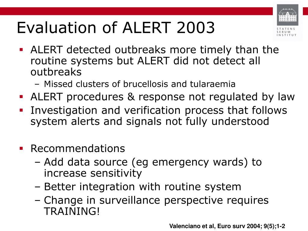 Evaluation of ALERT 2003