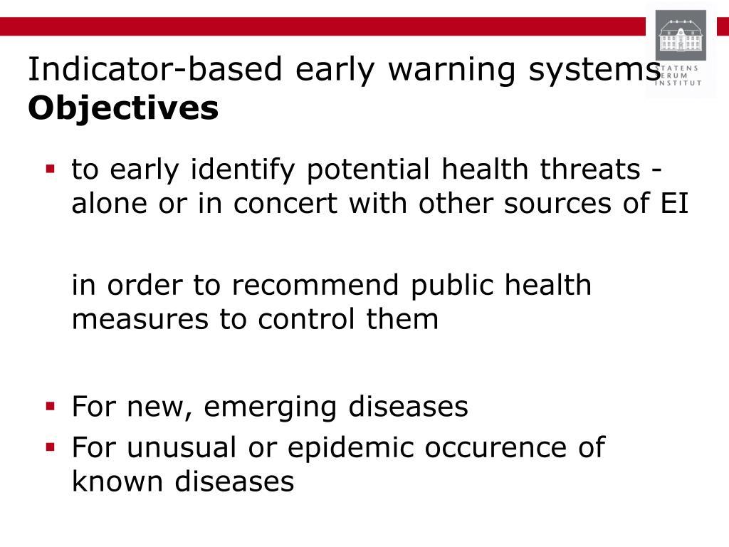Indicator-based early warning systems
