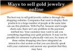 ways to sell gold jewelry online
