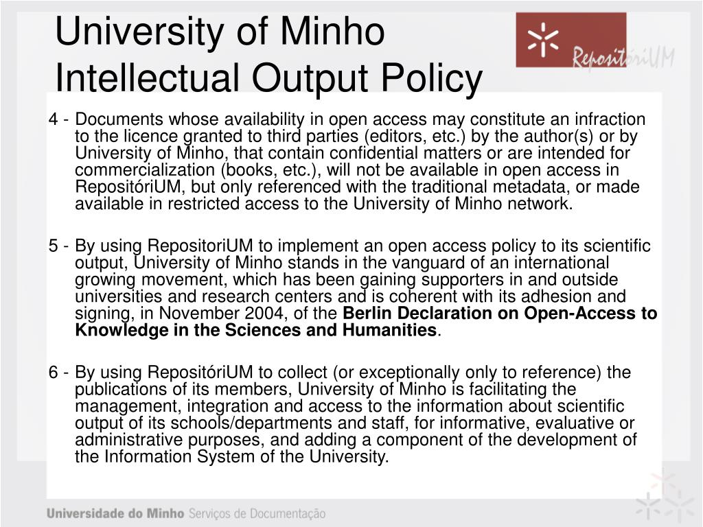 University of Minho Intellectual Output Policy