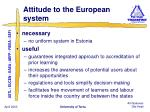 attitude to the european system