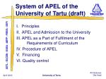 system of apel of the university of tartu draft