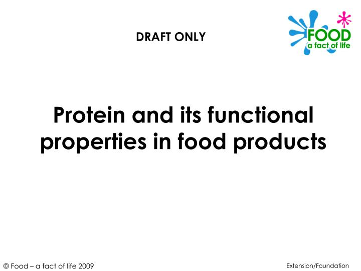 protein and its functional properties in food products n.