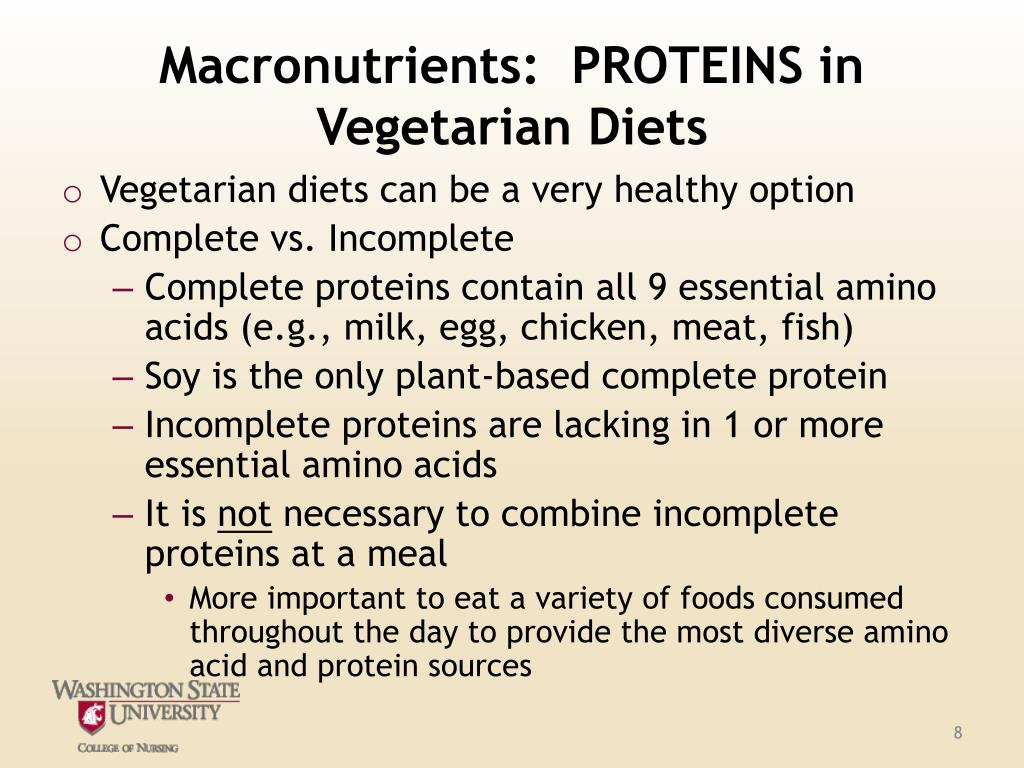 Macronutrients:  PROTEINS in Vegetarian Diets