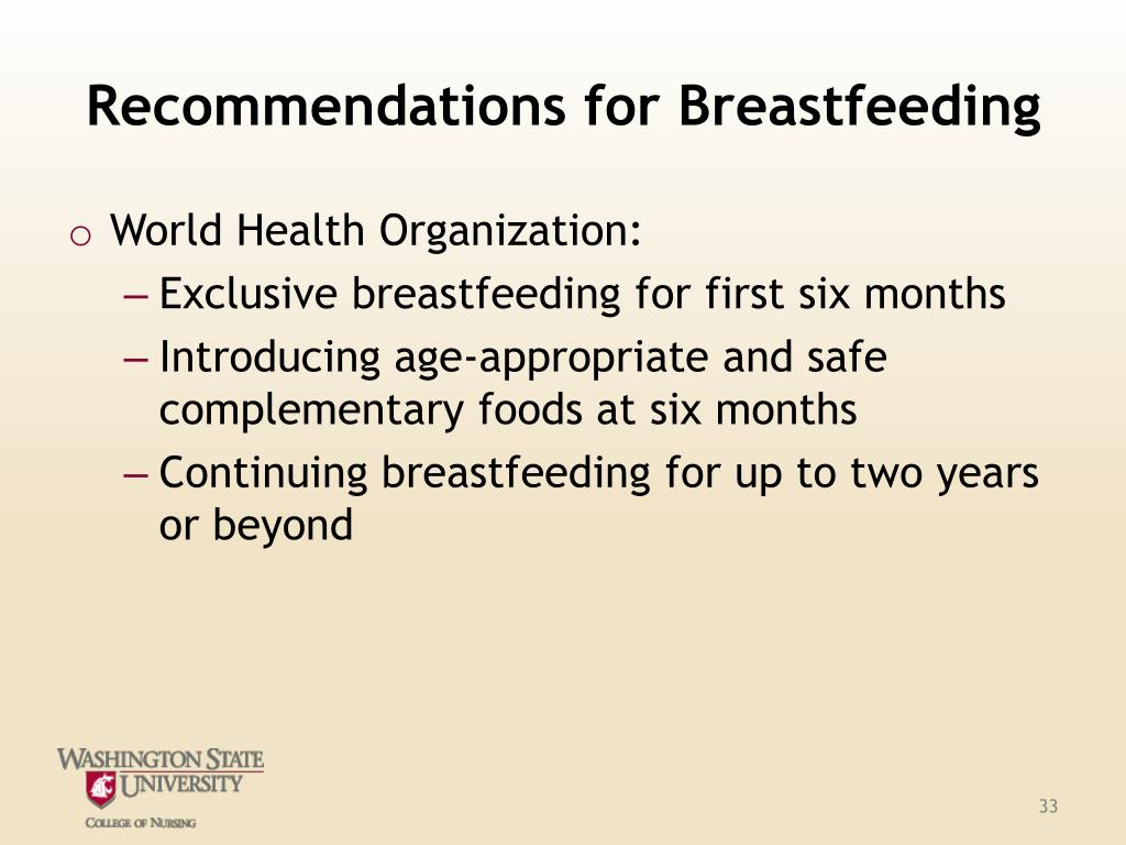 Recommendations for Breastfeeding