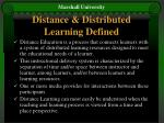 distance distributed learning defined