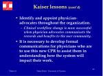 kaiser lessons cont d