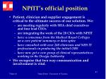 npfit s official position