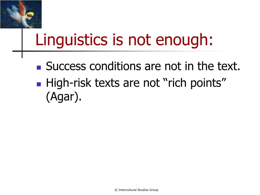 Linguistics is not enough: