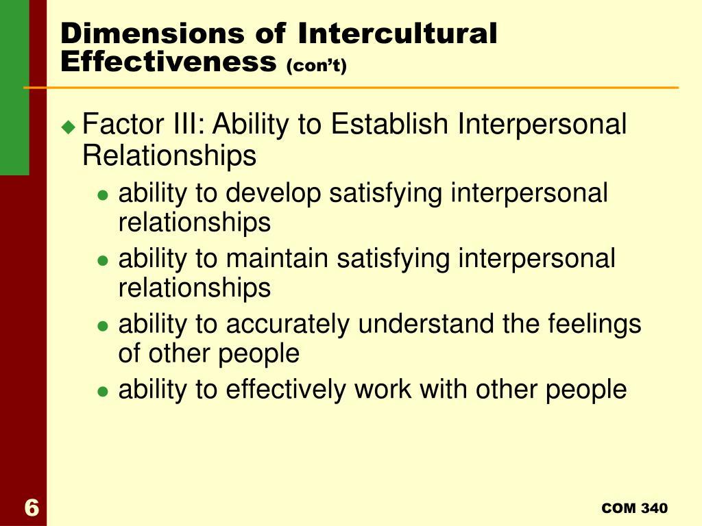 Dimensions of Intercultural Effectiveness