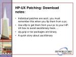 hp ux patching download notes