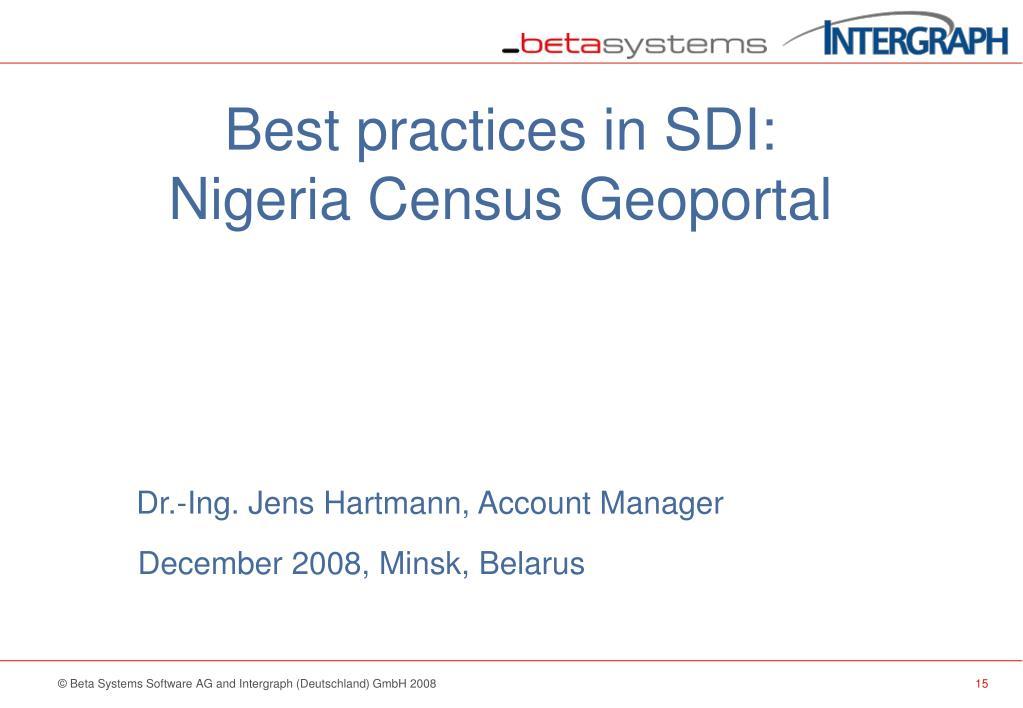 Best practices in SDI: