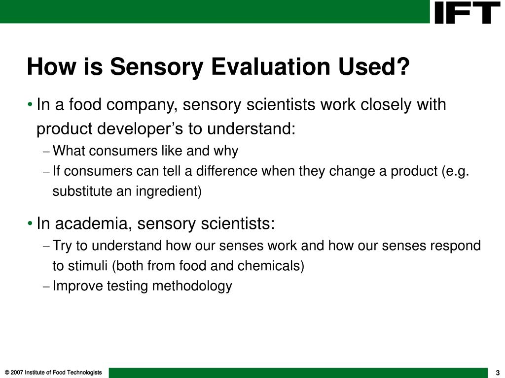 tests in sensory science This course is for those who need to design and conduct sensory evaluation tests within the consumer products industry  annlyse holds a phd in food science .