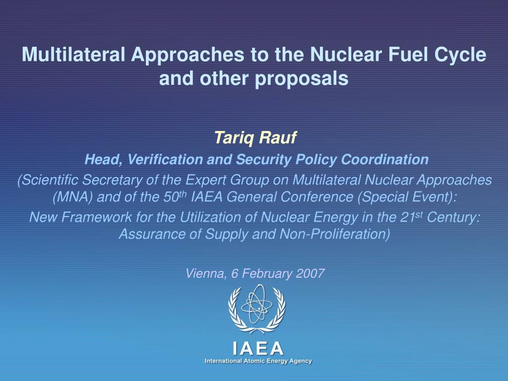 multilateral approaches to the nuclear fuel cycle and other proposals l.