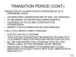 transition period cont