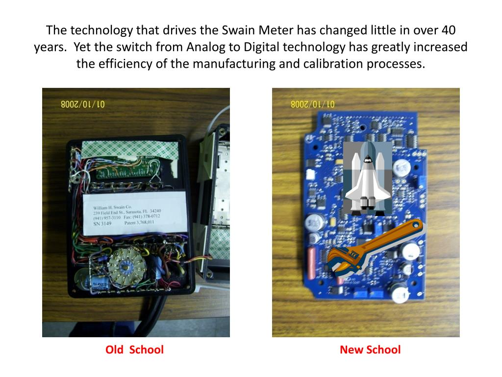 The technology that drives the Swain Meter has changed little in over 40 years.  Yet the switch from Analog to Digital technology has greatly increased the efficiency of the manufacturing and calibration processes.