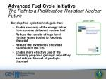 advanced fuel cycle initiative the path to a proliferation resistant nuclear future