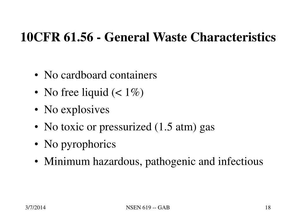 10CFR 61.56 - General Waste Characteristics
