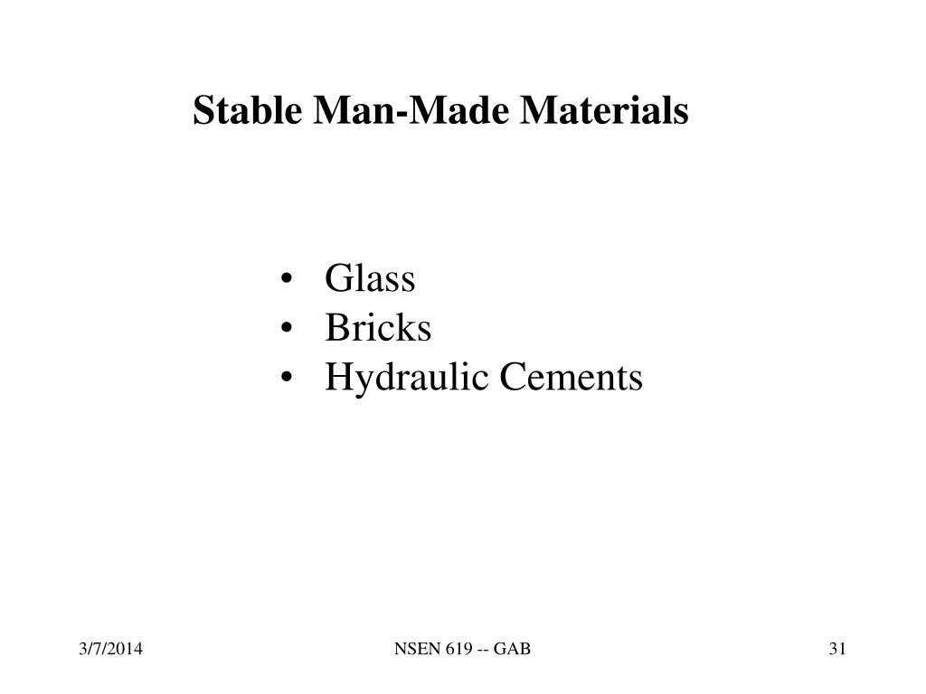 Stable Man-Made Materials