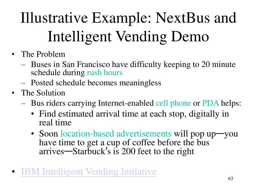 Illustrative Example: NextBus and Intelligent Vending Demo
