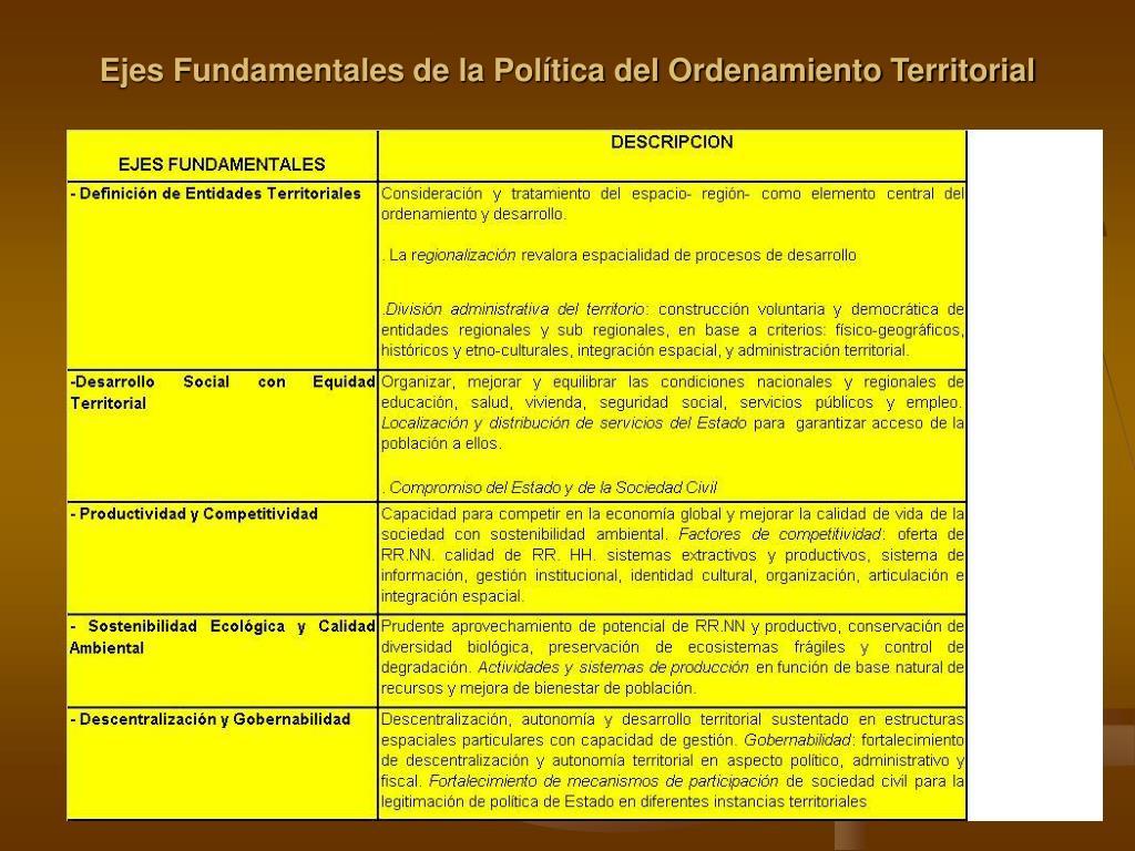 Ejes Fundamentales de la Política del Ordenamiento Territorial