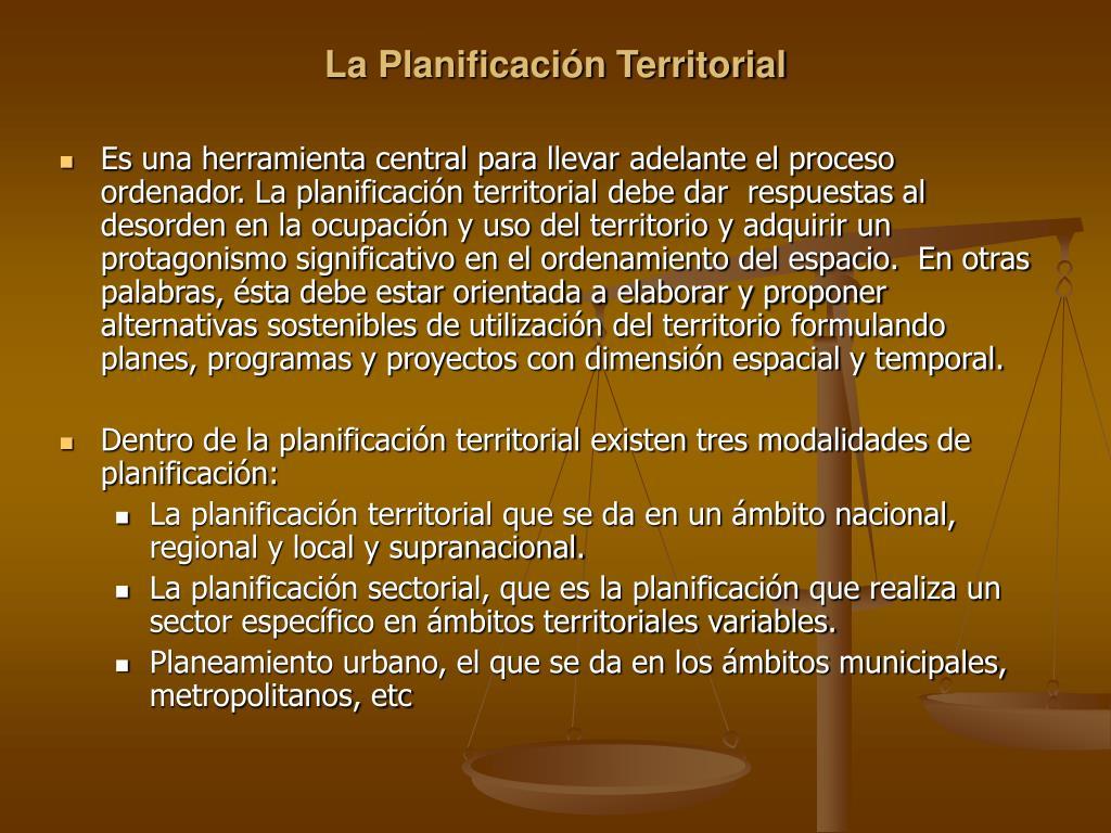 La Planificación Territorial