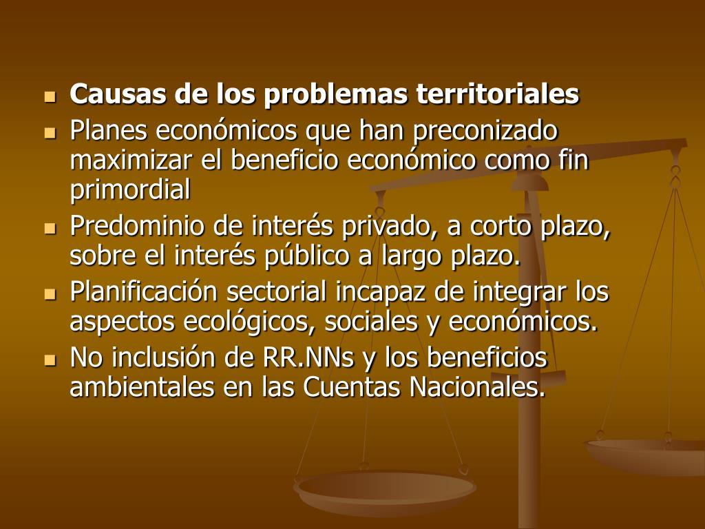 Causas de los problemas territoriales