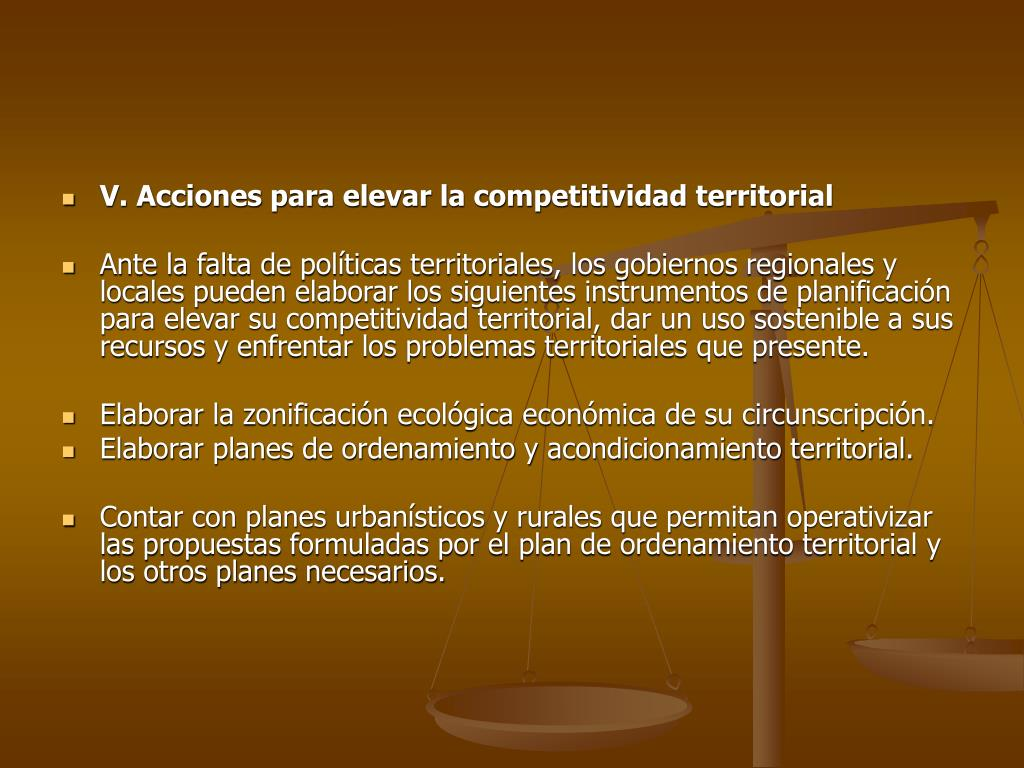 V. Acciones para elevar la competitividad territorial