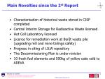 main novelties since the 2 st report