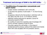 treatment and storage of raw in the npp kr ko67
