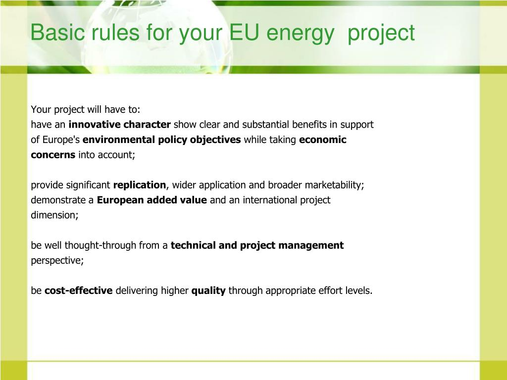 Basic rules for your EU energy  project