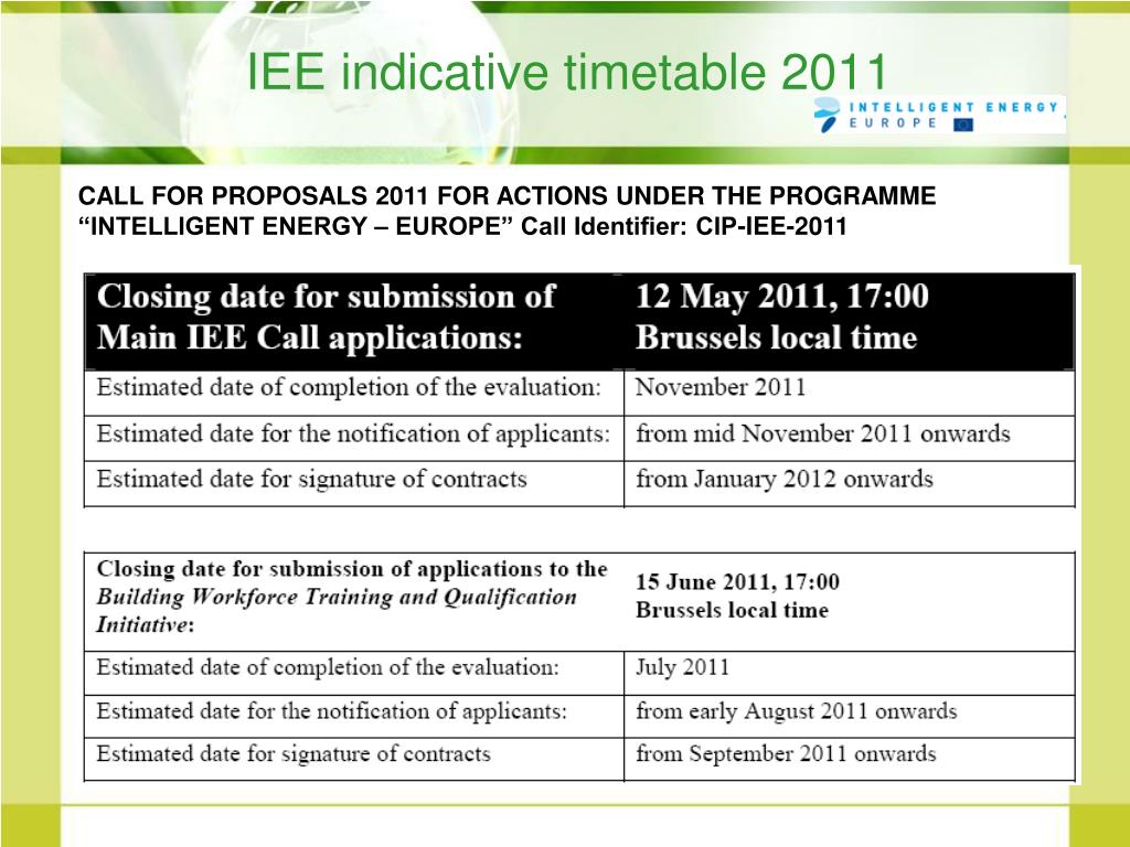 IEE indicative timetable 2011
