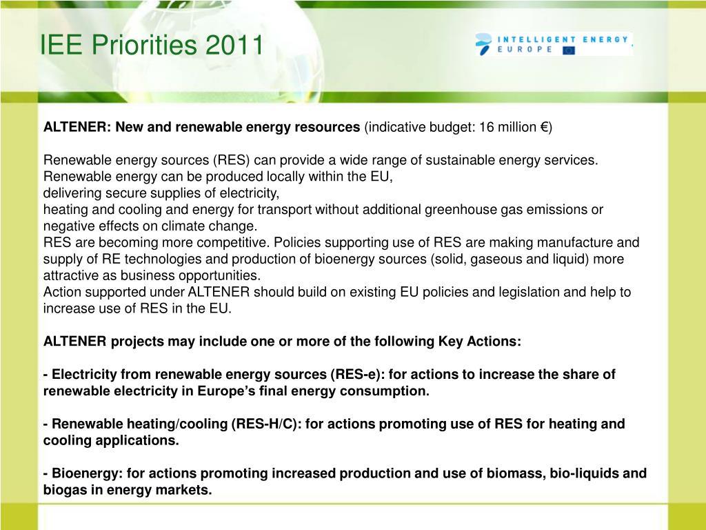 IEE Priorities 2011