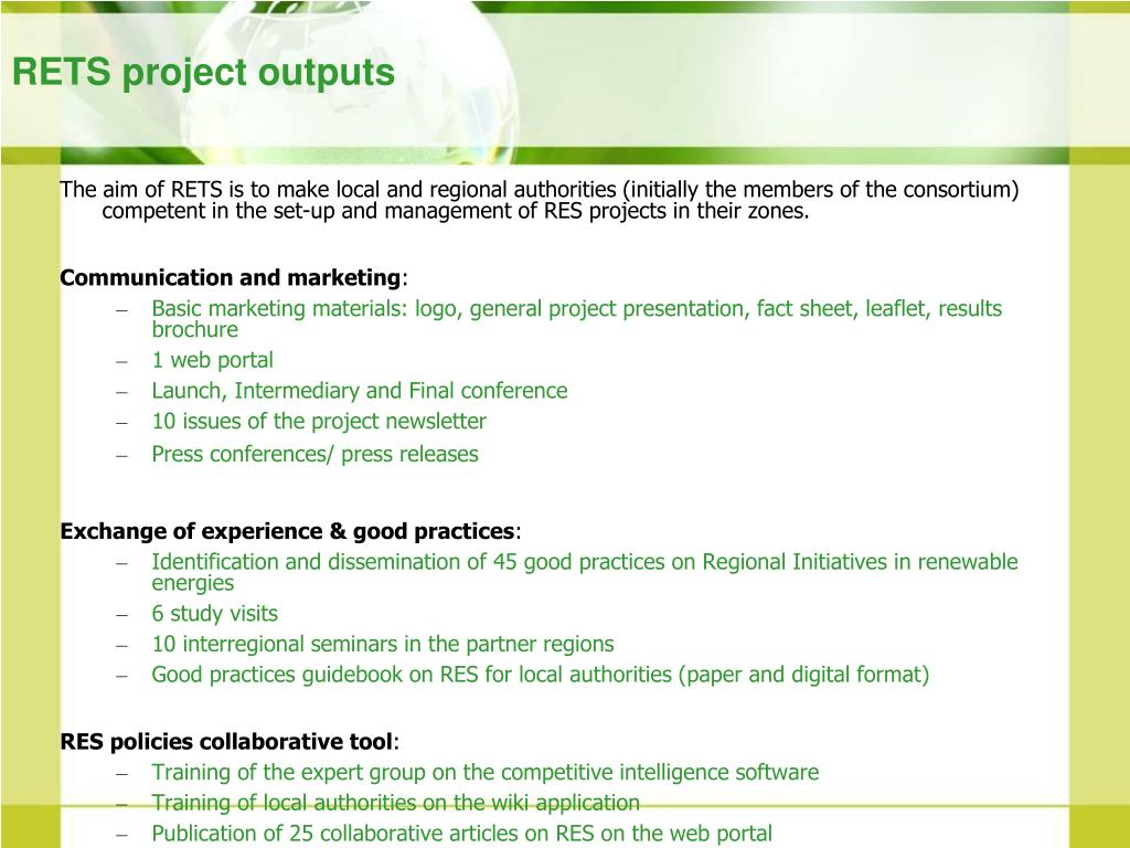 RETS project outputs