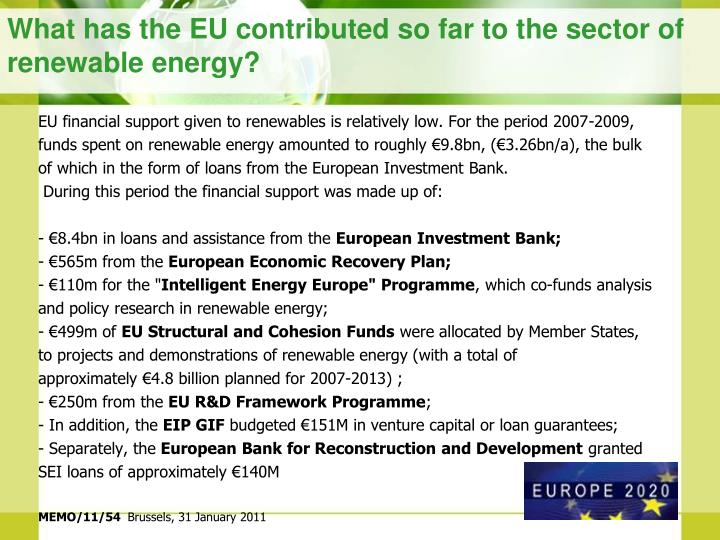 What has the eu contributed so far to the sector of renewable energy