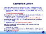 activities in 2008 9