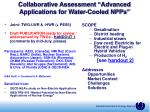 collaborative assessment advanced applications for water cooled npps