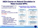 iaea course on natural circulation in water cooled npps