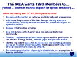 the iaea wants twg members to advise and then marshal support for agreed activities jcc