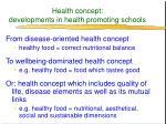 health concept developments in health promoting schools