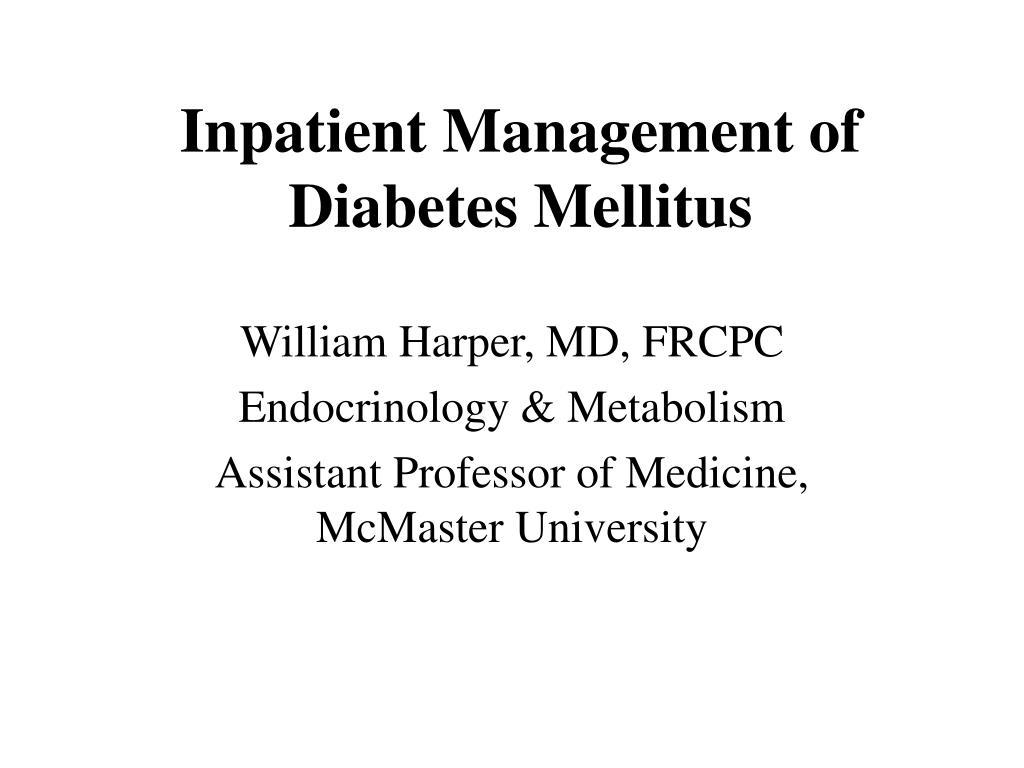 inpatient management of diabetes mellitus l.