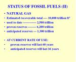 status of fossil fuels ii
