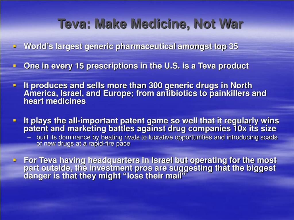 Teva: Make Medicine, Not War